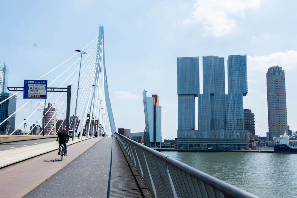 De mooie Erasmus Brug en de Rotterdam in Rotterdam! Prachtige architectuur vind je zeker in Rotterdam.