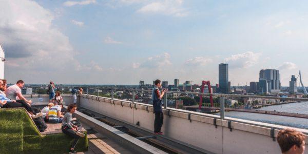 Bovenop de gebouwen in Rotterdam zit een hele wereld verstopt, van dakakkers tot aan kantoor terrassen. Fatima bezocht een aantal fijne dakterrassen in Rotterdam tijdens de Rotterdamse Dakendagen! In dit artikel deelt zij haar favoriete verborgen daken van Rotterdam!