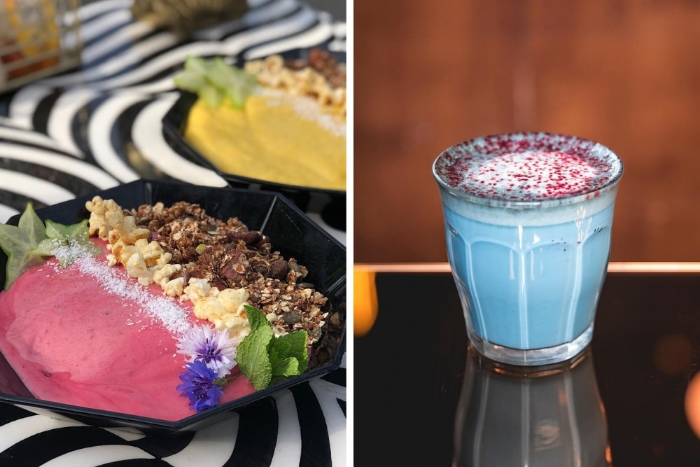 At Lilith you can get lots of colourful, vegan options, such as the pictured smoothie bowl and matcha drinks!