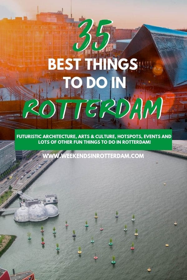 Are you looking for things to do in Rotterdam? Then check out this article with the 35 best things to do in Rotterdam. It includes both popular sights, such as the Euromast, Erasmus Bridge and the Cube Houses, and lesser known spots, such as the Bobbing Forrest and The Rotterdam Art Ride. This article is perfect to use as an inspiration for your visit to Rotterdam, the Netherlands! #Rotterdam #WeekendsinRotterdam #Netherlands