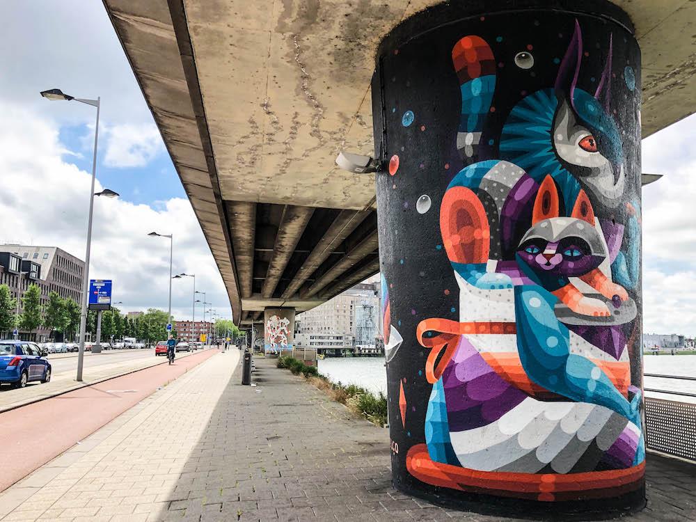 Rotterdam Art Ride (ROAR) is een kunstproject waarbij 18 pilaren onder de metrolijn van Rijnhaven worden geschilderd door een internationale groep kunstenaars uit heel Europa. Het doel van dit geweldige kunstproject is om visuele kunst toegankelijk te maken voor een breed publiek en om inwoners dagelijks te inspireren.