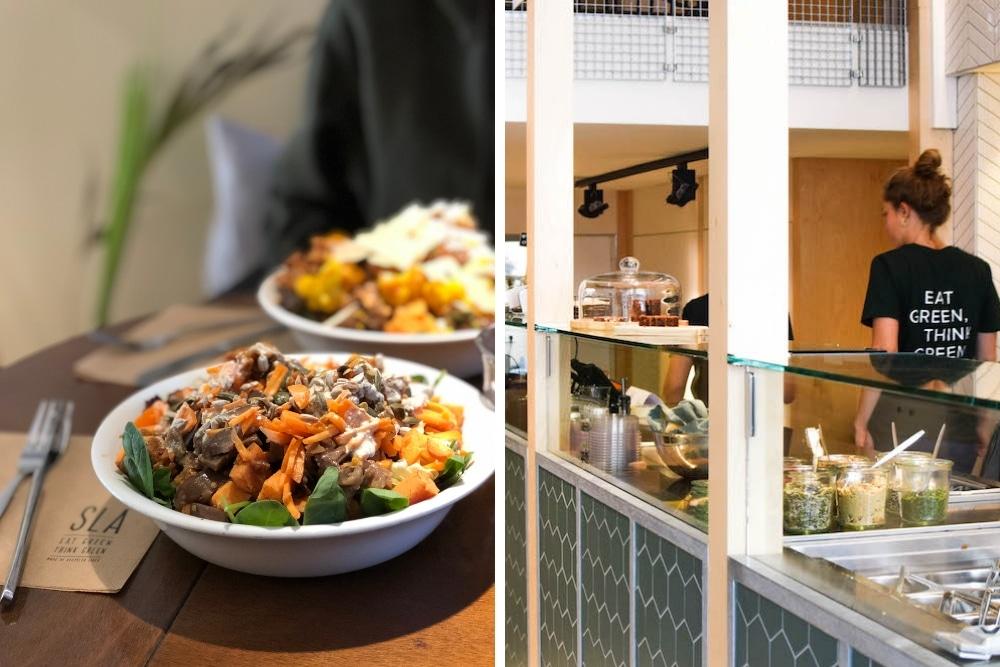 Bij SLA kan je heel makkelijk een gezonde en lekkere bowl samenstellen. Kies je granen, toppings, dressing en verschillende add-ons. Natuurlijk kan je ook een van de bestaande bowls kiezen, zoals een Mexican Taco Bowl of een Hummus Avocado bowl!